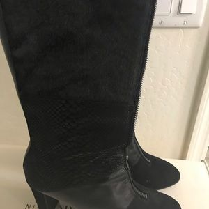 Anne Kline black boots with real calf fur.